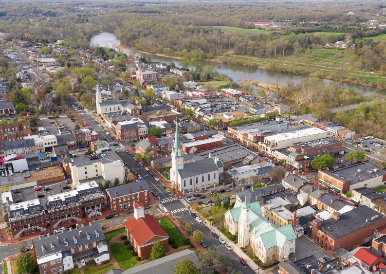 Ariel view of downtown Fredericksburg, VA.